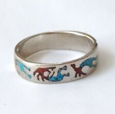 Kokopeili Ring, Nickel Ring, Turquoise and Coral Chip Inlay Ring, Size 7
