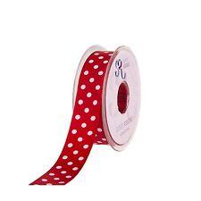 Full Reel 20 Metre Polka Dot/Spotty Satin Ribbon 10mm 25mm 38mm Various Colours