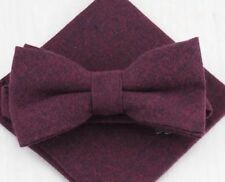 New Vintage Cotton Wedding, Matching Pre-tied bow & Pocket Square Set. UK.