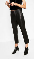 Zara size XL 42 44 Biker cropped culottes faux Leather Trousers Pants pantalones de cuero