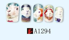 Nail Art Water Decals Stickers Transfers Wraps Easter Bunny Rabbits Kawaii A1294