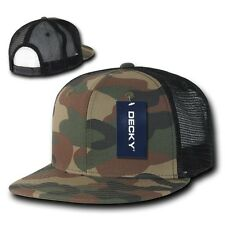 Forest Camouflage Woodland Camo Cotton Flat Bill Mesh Snapback Trucker Cap Hat