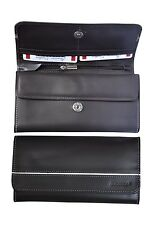 Womens Organizer Wallet Handbag Purse Card Holder Genuine Leather #7004 Black