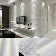 10x0.53m Bright 3D Pure Textured White Brick Stone Contact Paper Wallpaper Roll