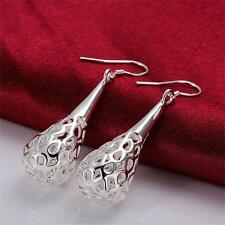 Xmas 925 Women Hollow Hook Silver Plated Water Drop Earrings Dangle Elegant Cute