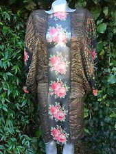 1920's Original Gold Thread & Silk Rose Chiffon Kimono Dress Gown Size 8
