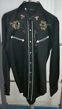 VTG Sears Western Wear Shirt Black Floral Men's Medium Cowboy Rodeo Nudie RRL