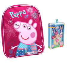 Peppa Pig Pink Patchwork Backpack Girls Jewelry set + necklace