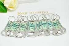 12 PCS Bottle Opener Keychains $100 Dollar Bill Cool Key Chain Lot Llaveros
