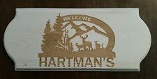Personalized Family Welcome deer wood sign Cabin Hunter Christmas Birthday Gift