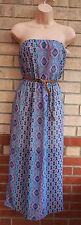 PRIMARK BANDEAU BELTED BLUE WHITE PINK PAISLEY BAROQUE LONG A LINE DRESS 10 S