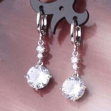 Sparkling 18K White Gold Filled Crystal Dangle Earrings Swarovski Elements Bling