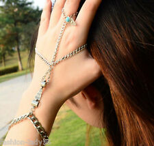 New Fashion Bracelet Bangle Slave Chain Link Finger Hand Harness With Ring