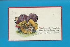 CHILDREN, Huge PANSIE On A/S BRUNDAGE Vintage 1914 FANTASY VALENTINE Postcard