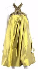 MONIQUE LHUILLIER Mustard Silk Brass Beaded Halter Bubble-Hem Dress 10