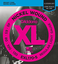 D'Addario EXL170-5 5-String Nickel Wound Bass Guitar Strings, Light, 45-130, Lon