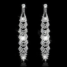 Long Crystal Drop Earrings Diamante Bridal Chandelier Rhinestone Silver Dangle