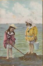 TWO LITTLE GIRLS WEARING OLD-FASHION BATHING SUITS ~ c1908 BEAUTY