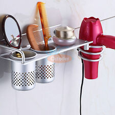 Hair Dryer Stand Storage Organizer Rack Holder Hanger Wall Mounted Bathroom Set