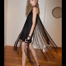 $594 Alexis Vardenis Black Fringe Dress Sz Small