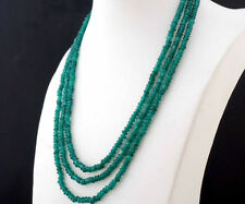 NATURAL 3 Rows 2X4mm Faceted GREEN EMERALD BEADS NECKLACE 17-19""