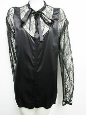 NWT $1,253 DOLCE & GABBANA Womens Black Lace Button Down Silk Shirt Top 40 IT 4