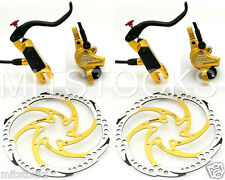 Bengal Helix 7B Bike Bicycle Hydraulic Disc Brakes 160mm F & R Complete Kit Gold