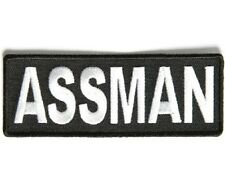 "(Q) ASSMAN  4"" x 1.5"" iron on patch (3426) Biker vest Jacket Cap Hat"