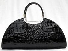 Ital. Damen Leder Tasche Handtasche Shopper Kroko Lackleder schwarzTraum Design