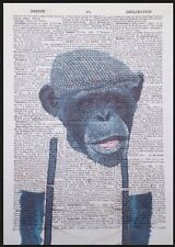 Monkey Chimp Print Vintage Dictionary Page Wall Art Picture Chimpanzee Hipster