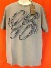 NWT GUCCI GRAY COTTON GG BELTS HORSEBIT LOGO SHORT SLEEVES T- SHIRT XXXL