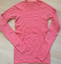 LULULEMON RUN SWIFTLY LS Tech Shirt Coral Red size 4 EUC Running Yoga Gym