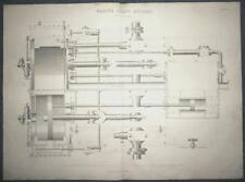 c1868 MARINE SCREW ENGINES PLAN IN PART SECTION Large ENGRAVING Print