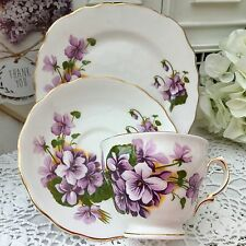 ROYAL VALE BONE CHINA 1960s TRIO CUP SAUCER PLATE SET -BIG PURPLE VIOLETS GILDED