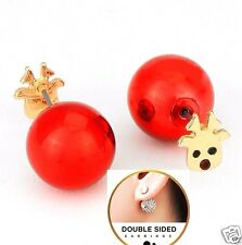 Double Sided Red Ball Rudolph Reindeer Front 360 Studs Peekaboo Gold Earrings