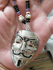 "Vendetta Necklace SILVER Tone Drama BIG V MASK & Purple Cord Choker 15""-28"" NEW!"