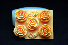 Silicone Mold Fondant Polymer Clay Soap Making Molds Melting Wax Resin,5 Roses