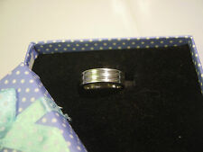 "SOLID SILVER-FABULOUS PLAIN STRIPED BAND RING-SIGNED ARGENTIUM""958""PURITY-SIZE-L"