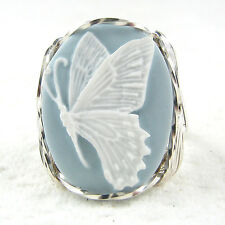 White Butterfly Cameo Ring .925 Sterling Silver Jewelry Any Size Blue Resin