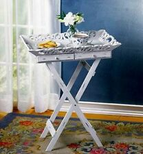 Shabby White Chic Tray Table, End Table, Nightstand, Sofa Table NEW