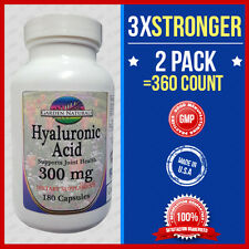 2 Pk Hyaluronic Acid 200mg Max Strength + 100=3x Stronger 360Caps Made USA / FDA