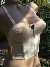 1950's Vintage Lovable Ivory Embroidered Longline Zip Up Bullet Bra~Pin-up Girl