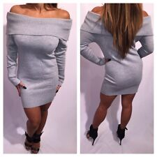 Connie's Long sleeve Off Shoulder Gray Sweater Dress Sweater Mini Dress S/M