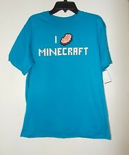 "Boys size 14/16 Mojang  ""I Love Minecraft"" Short Sleeve Blue T-Shirt NWT"