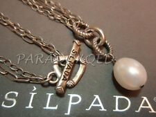 SILPADA RARE Sterling Silver 925 Freshwater Pearl Double Chain Necklace N1353 LD