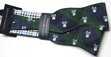 Tommy Hilfiger Skull Bow Tie and Gingham Pocket Square Set Hunter Green Men NWT