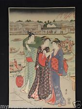 Japanese woodblock print by Syunzan with Man with two Woman at Festival