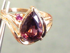 14K YELLOW GOLD LADIES SOLITAIRE 2.25 CARAT PEAR CUT TOURMALINE RUBY RING S 7.75