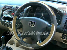 Car Luxury Soft Comfort Touch Beige Black Chrome Look Steering Wheel Cover Glove