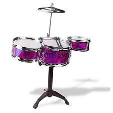 Practice Jazz Drum Kit w/ 3 Drums & Sticks Kids Musical Exercise Toy Purple